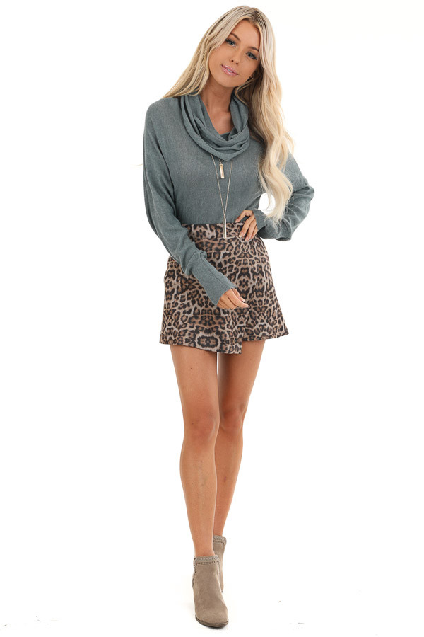 Taupe and Mocha Soft Leopard Print Skort with Elastic Waist front full body