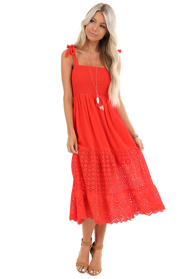 Lipstick Red Smocked Top Midi Dress with Eyelet Lace Details front full body