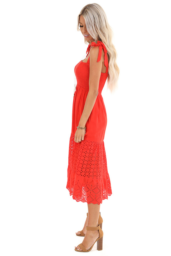 Lipstick Red Smocked Top Midi Dress with Eyelet Lace Details side full body