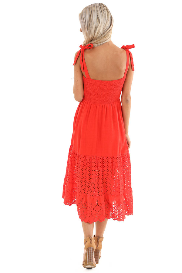 Lipstick Red Smocked Top Midi Dress with Eyelet Lace Details back full body