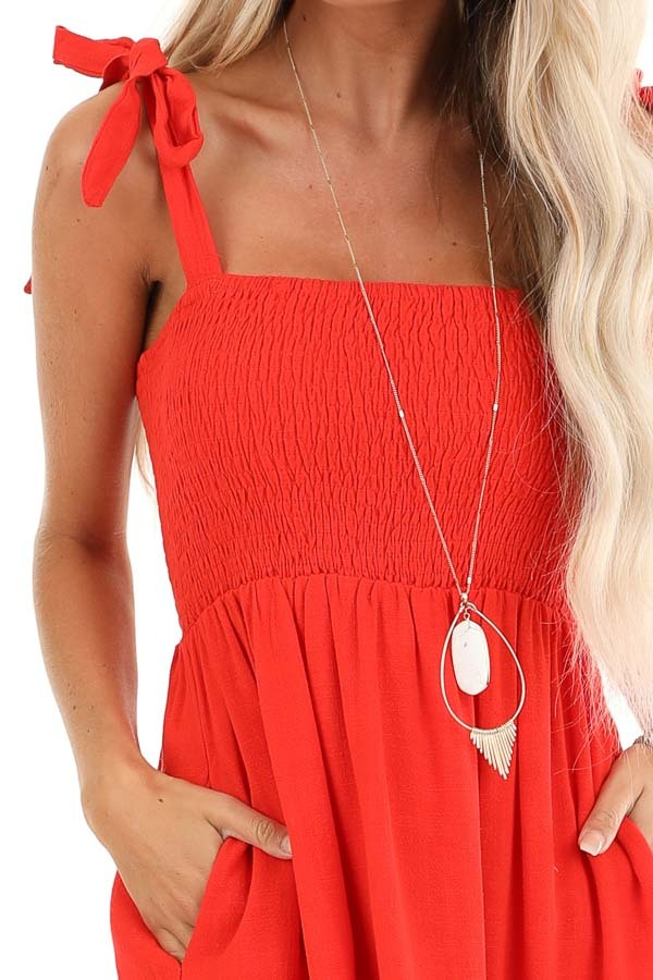 Lipstick Red Smocked Top Midi Dress with Eyelet Lace Details detail