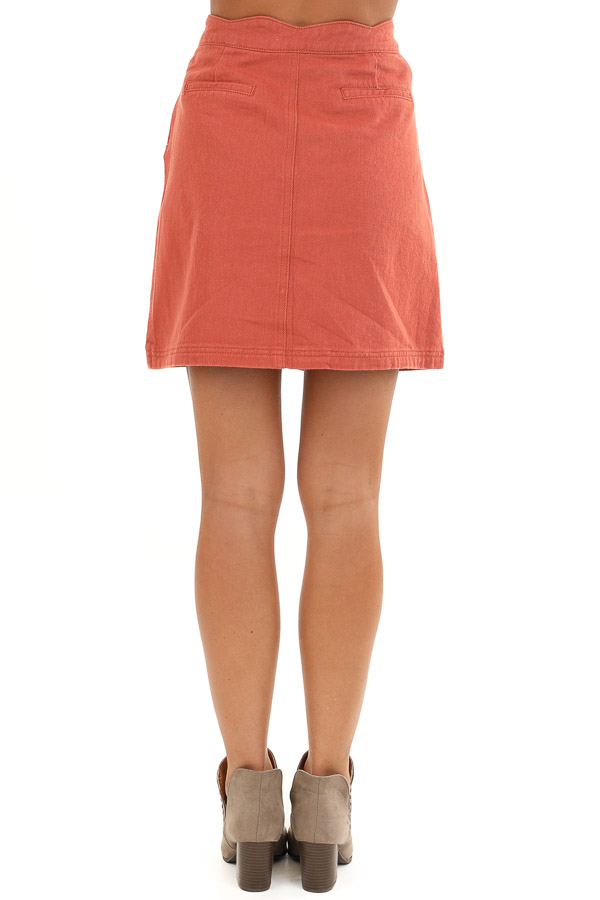 Sienna Scalloped Denim Button Up Mini Skirt with Pockets back view
