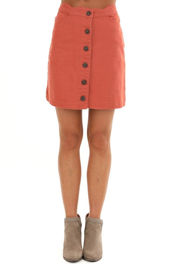 Sienna Scalloped Denim Button Up Mini Skirt with Pockets front view
