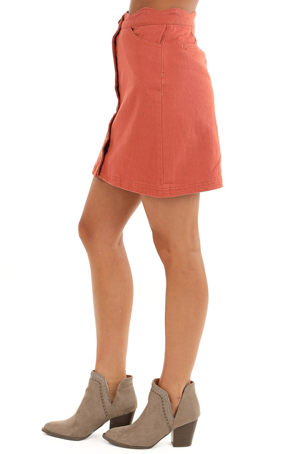 Sienna Scalloped Denim Button Up Mini Skirt with Pockets side view