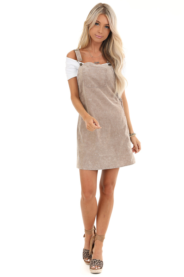 Taupe Corduroy Overall Dress with Side Button Down Closure front full body