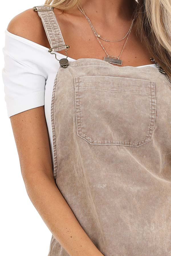 Taupe Corduroy Overall Dress with Side Button Down Closure detail