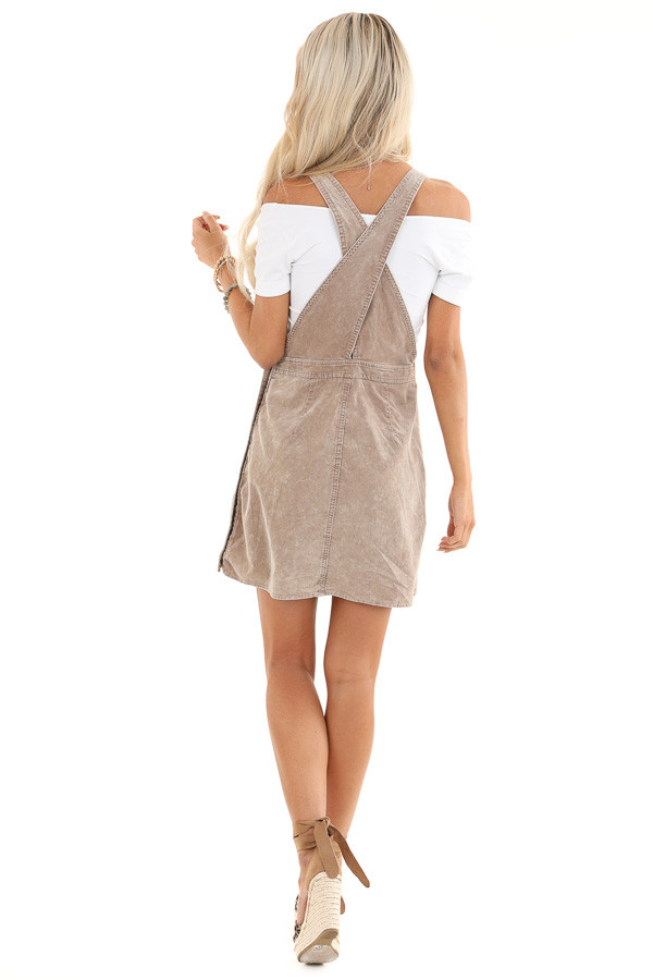 Taupe Corduroy Overall Dress with Side Button Down Closure back full body