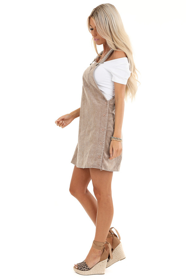 Taupe Corduroy Overall Dress with Side Button Down Closure side full body