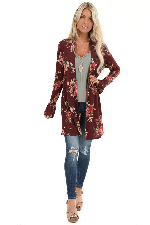 Burgundy Floral Print Open Front Kimono with Long Sleeves front full body