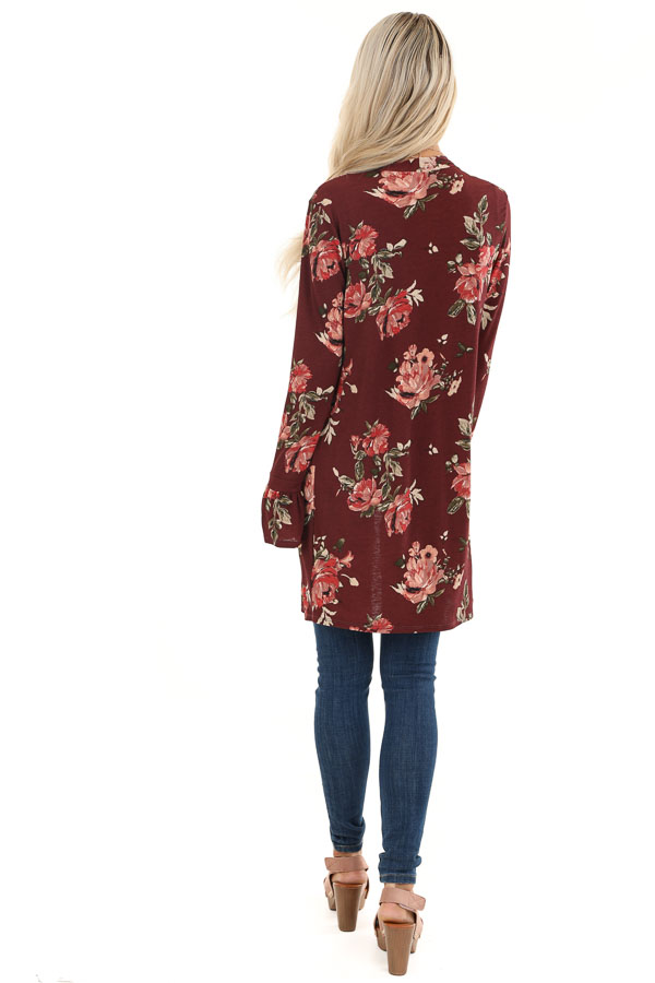 Burgundy Floral Print Open Front Kimono with Long Sleeves back full body