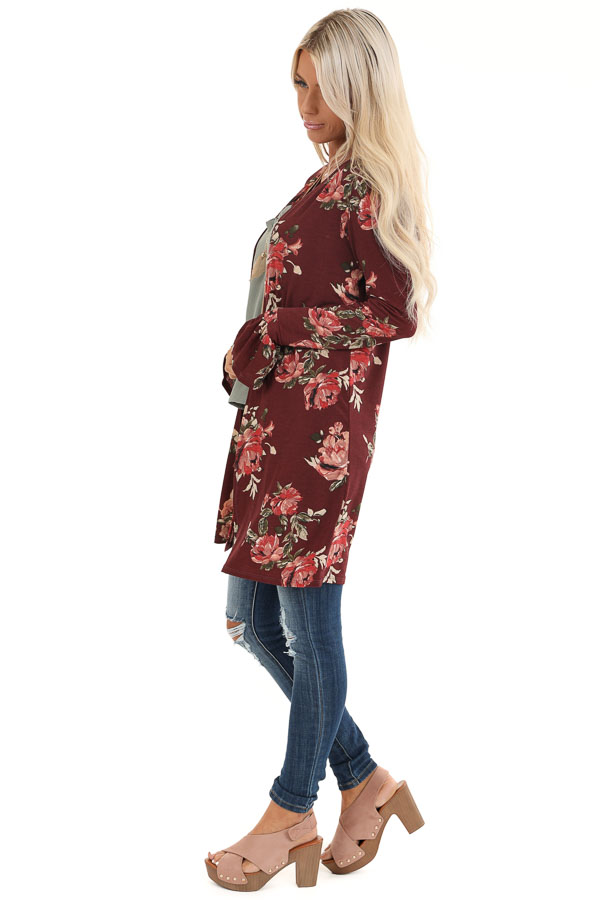 Burgundy Floral Print Open Front Kimono with Long Sleeves side full body