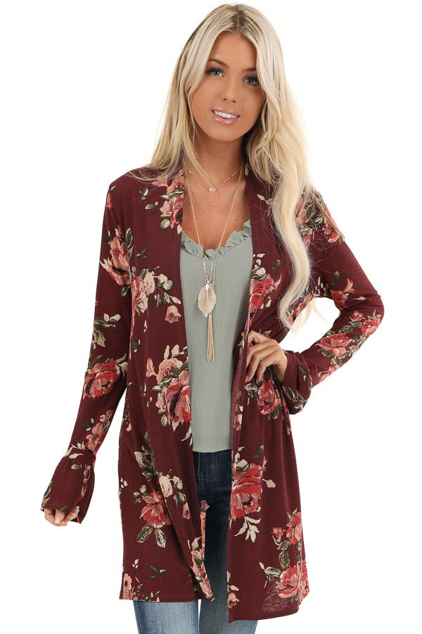 Burgundy Floral Print Open Front Kimono with Long Sleeves front close up