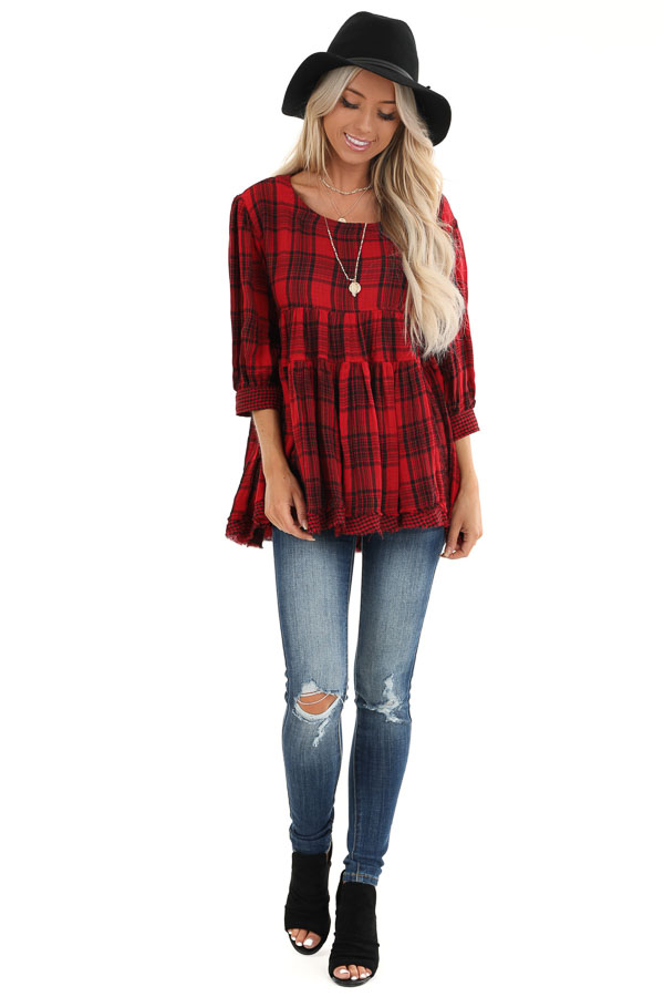 Crimson Red Plaid 3/4 Sleeve Babydoll Top with Keyhole Back front full body