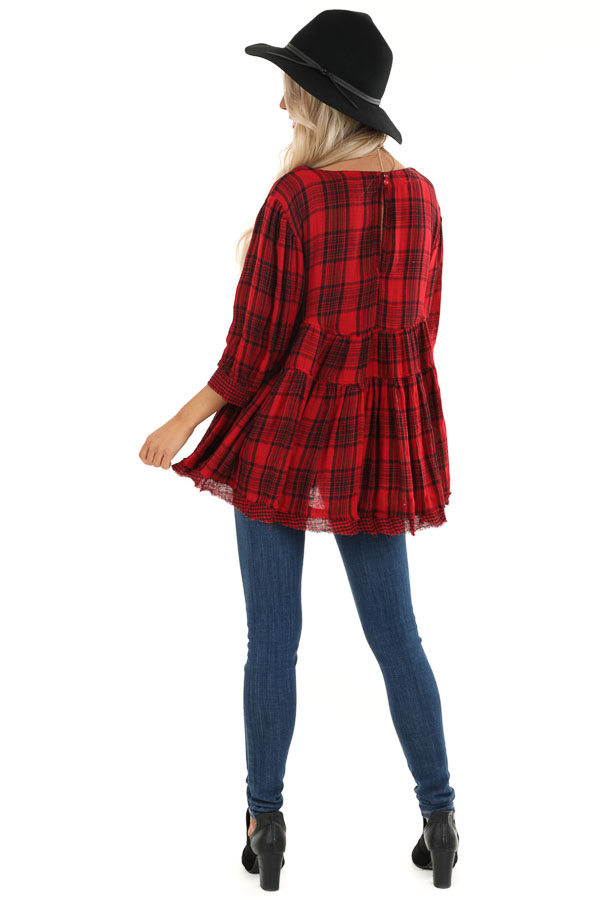 Crimson Red Plaid 3/4 Sleeve Babydoll Top with Keyhole Back back full body