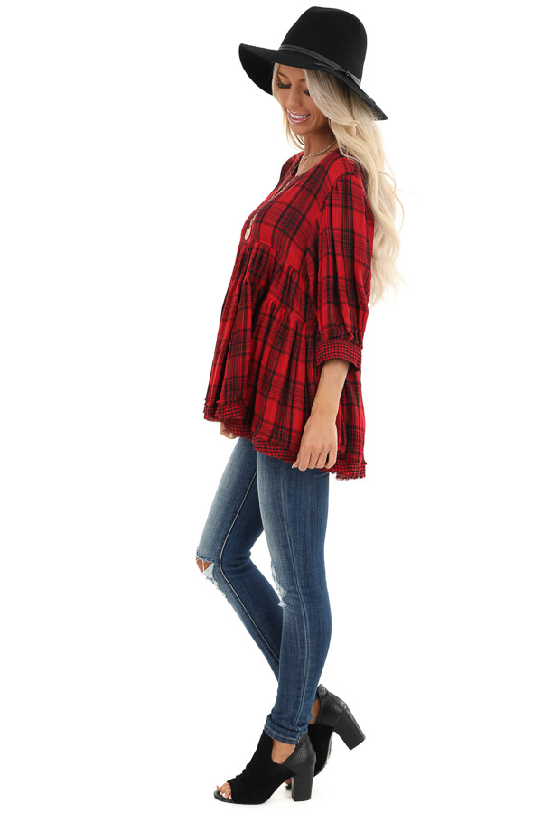 Crimson Red Plaid 3/4 Sleeve Babydoll Top with Keyhole Back side full body