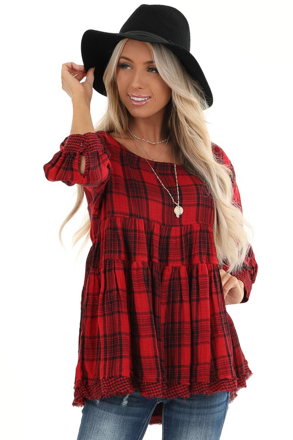 Crimson Red Plaid 3/4 Sleeve Babydoll Top with Keyhole Back front close up