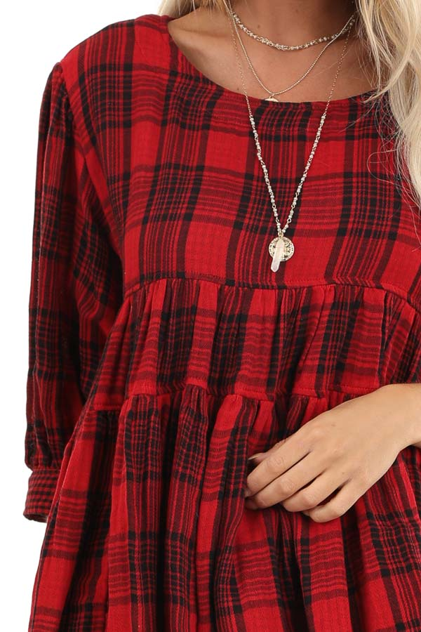 Crimson Red Plaid 3/4 Sleeve Babydoll Top with Keyhole Back detail