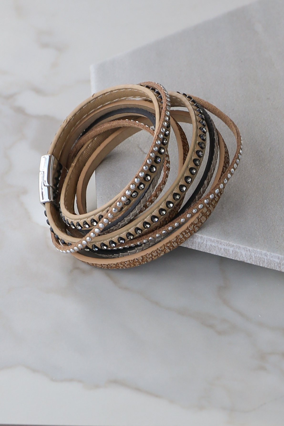 Tan and Silver Wrap Bracelet with Diamonds and Snake Print