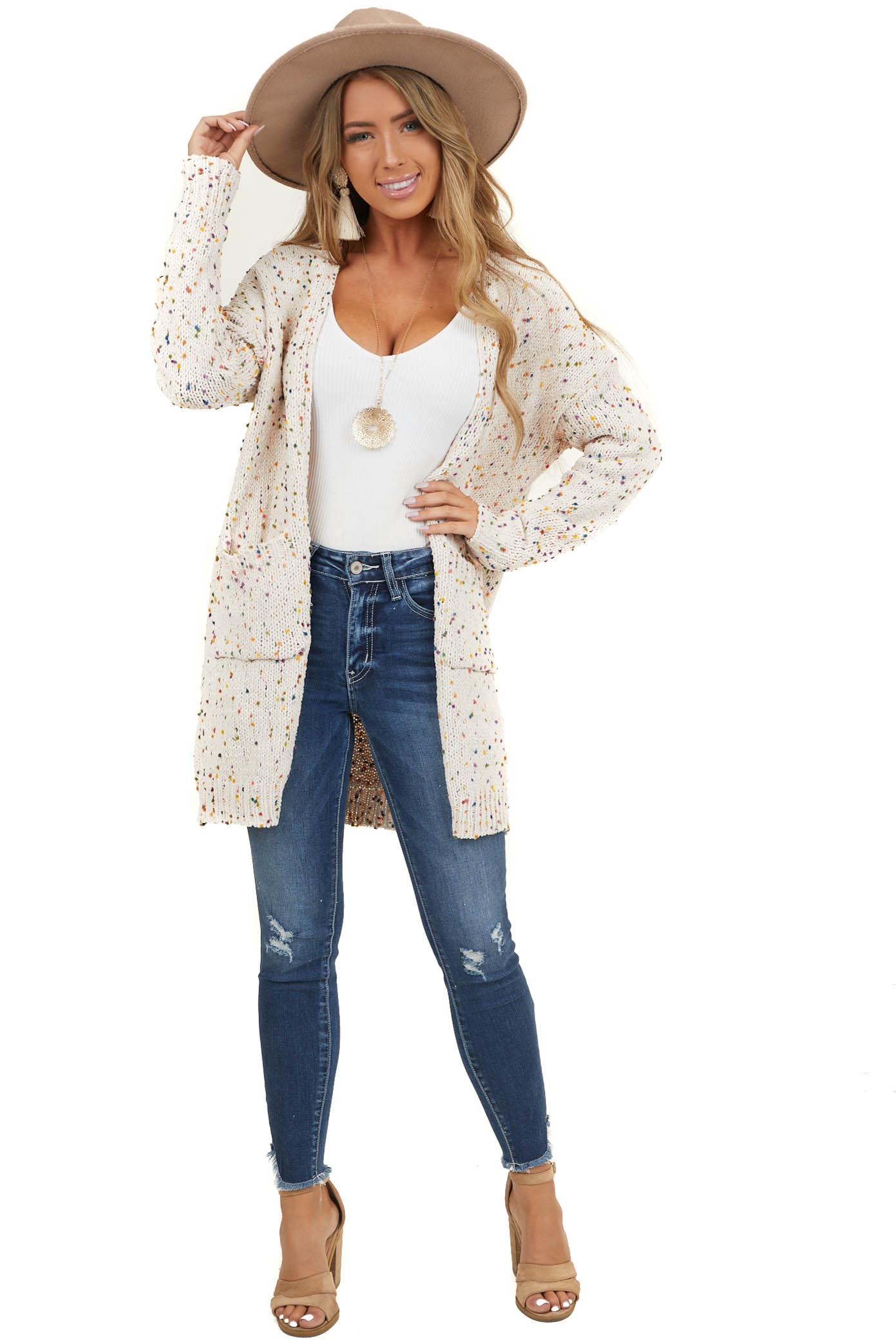 Oatmeal Knit Cardigan with Rainbow Speckles and Pockets