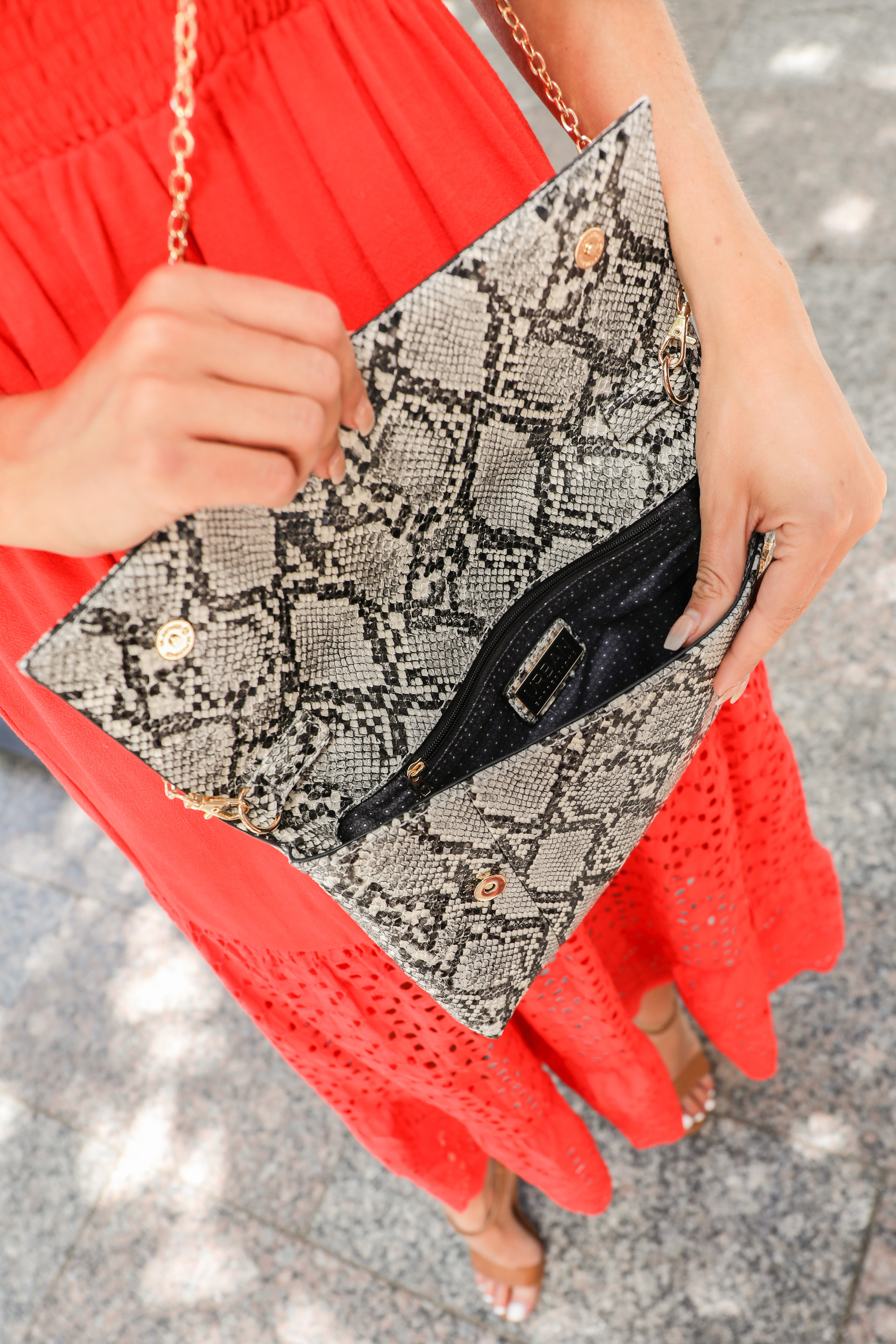 Heather Grey and Ink Black Textured Snake Print Clutch Purse