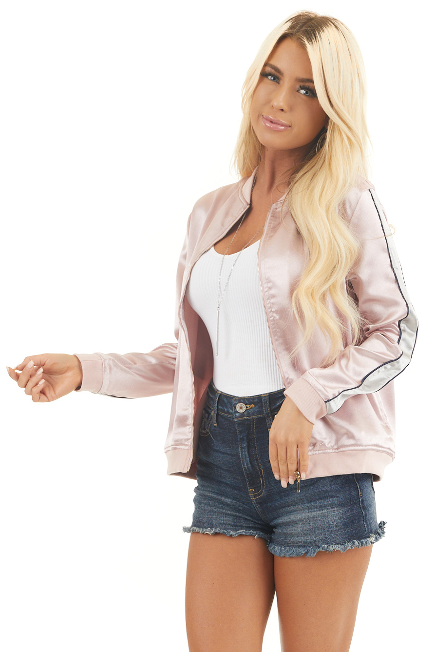 Metallic Blush Jacket with Back Embroidered Floral Detail