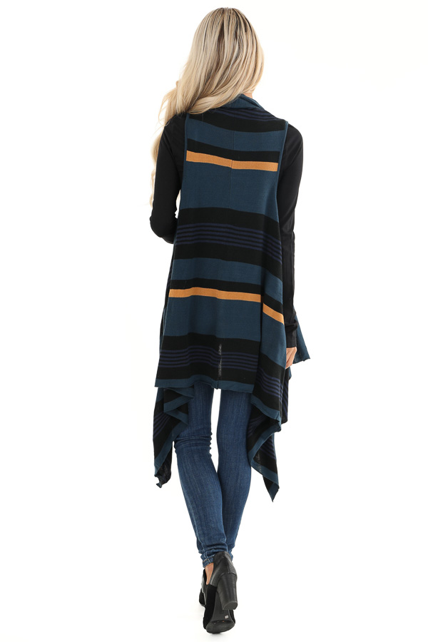 Prussian Blue and Black Striped Asymmetrical Vest back full body