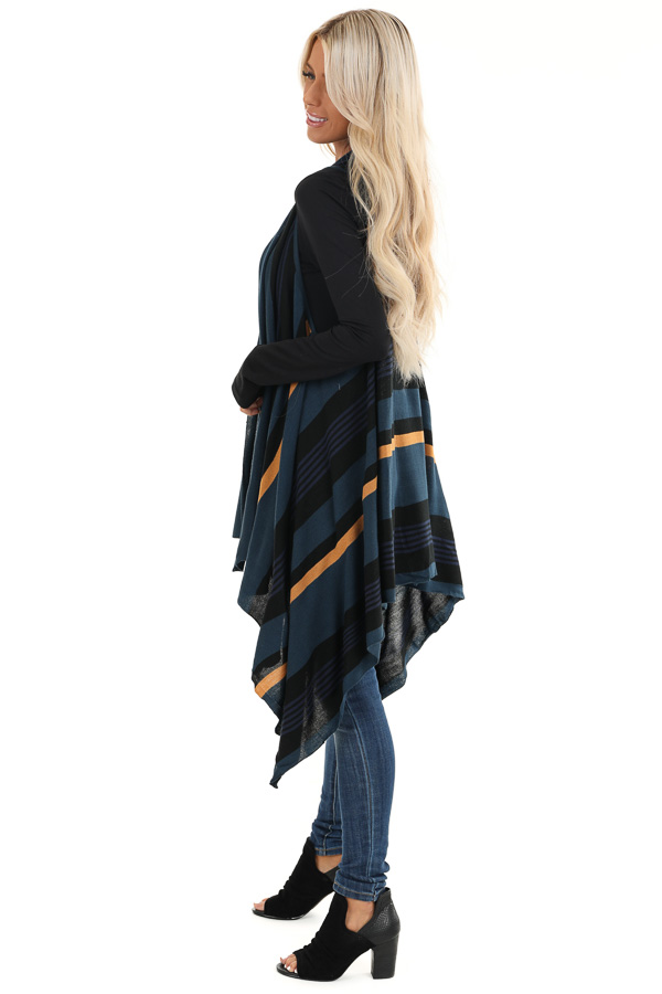 Prussian Blue and Black Striped Asymmetrical Vest side full body