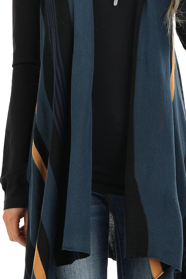 Prussian Blue and Black Striped Asymmetrical Vest detail