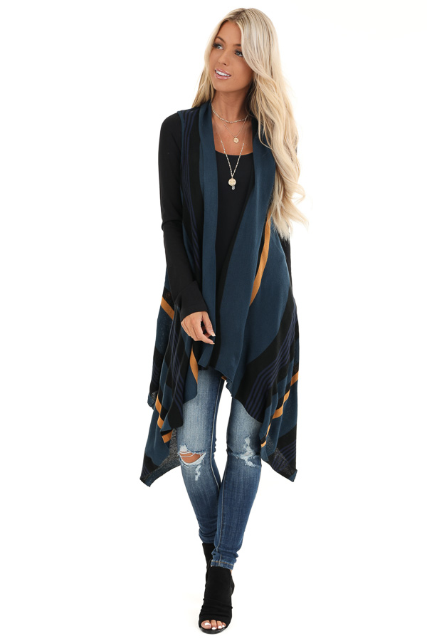 Prussian Blue and Black Striped Asymmetrical Vest front full body