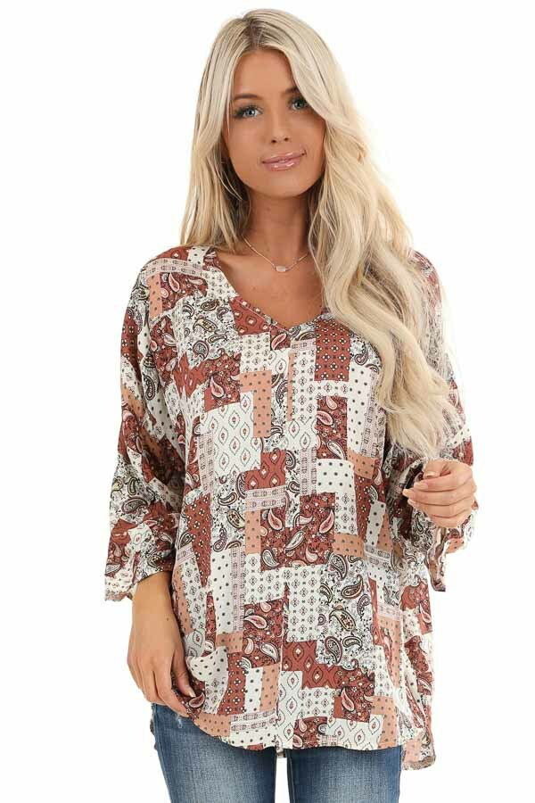 Rust and Ivory Mixed Print Top with 3/4 Sleeves front close up
