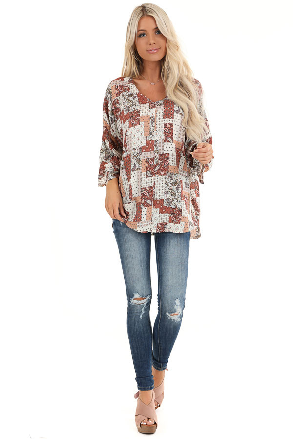 Rust and Ivory Mixed Print Top with 3/4 Sleeves front full body