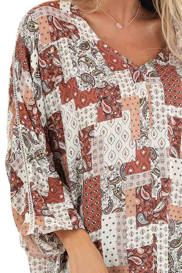 Rust and Ivory Mixed Print Top with 3/4 Sleeves detail