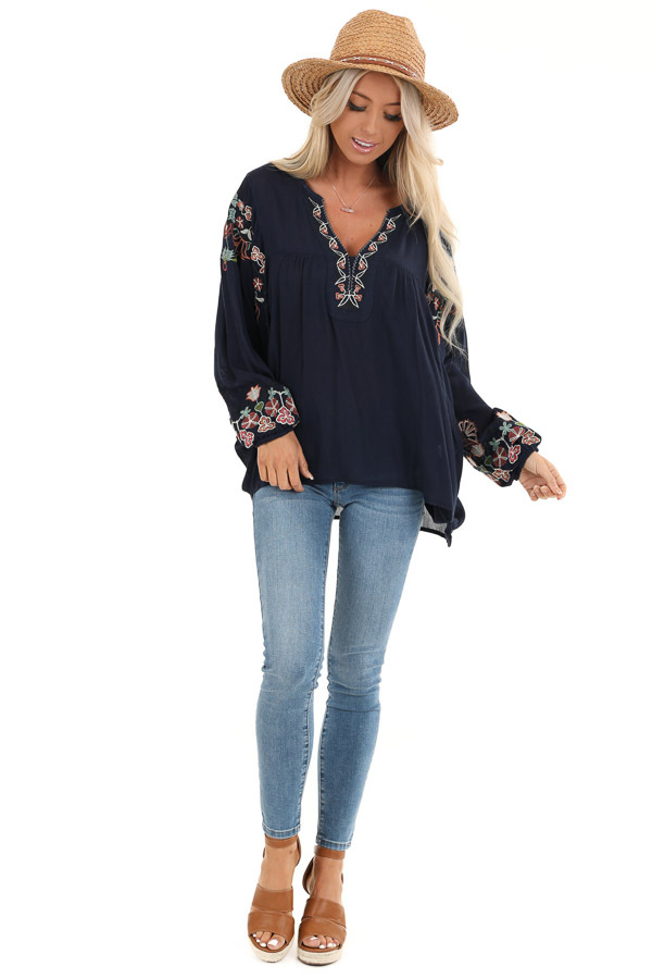 Navy Long Sleeve Peasant Top with Embroidery Details front full body