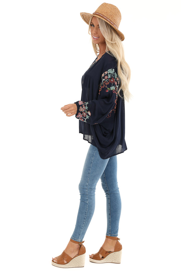 Navy Long Sleeve Peasant Top with Embroidery Details side full body