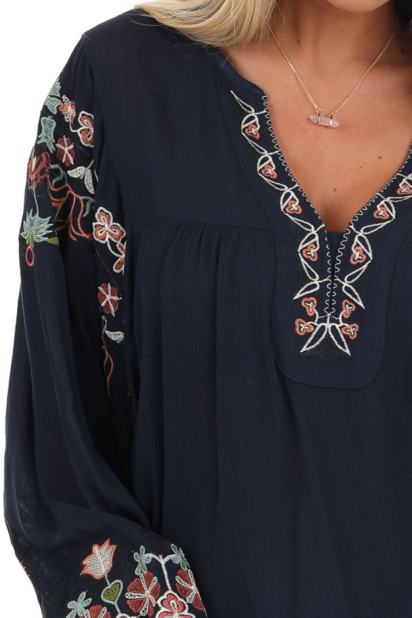Navy Long Sleeve Peasant Top with Embroidery Details detail