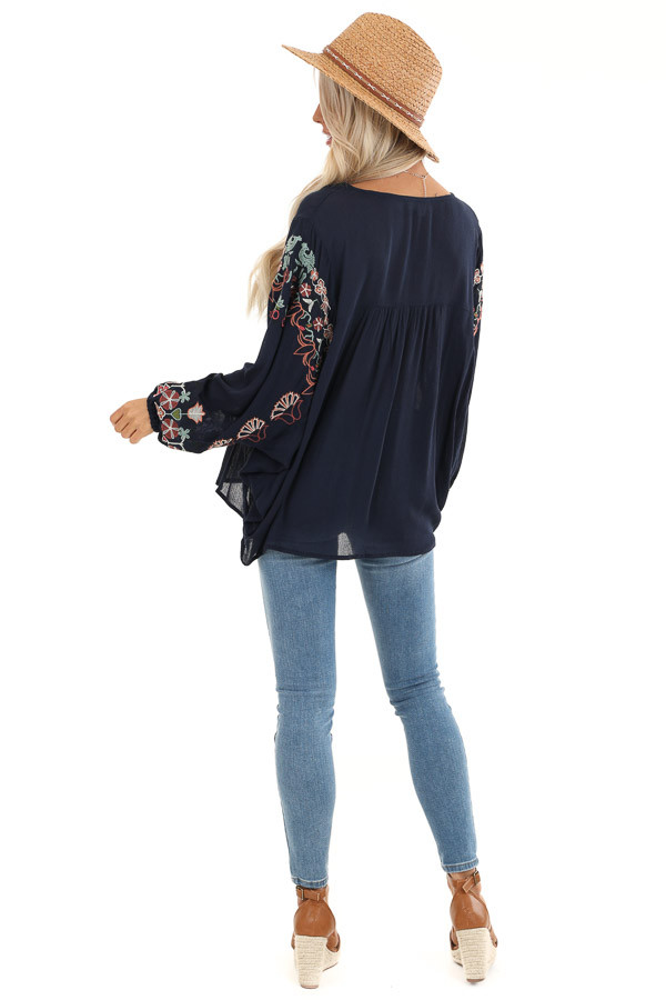 Navy Long Sleeve Peasant Top with Embroidery Details back full body
