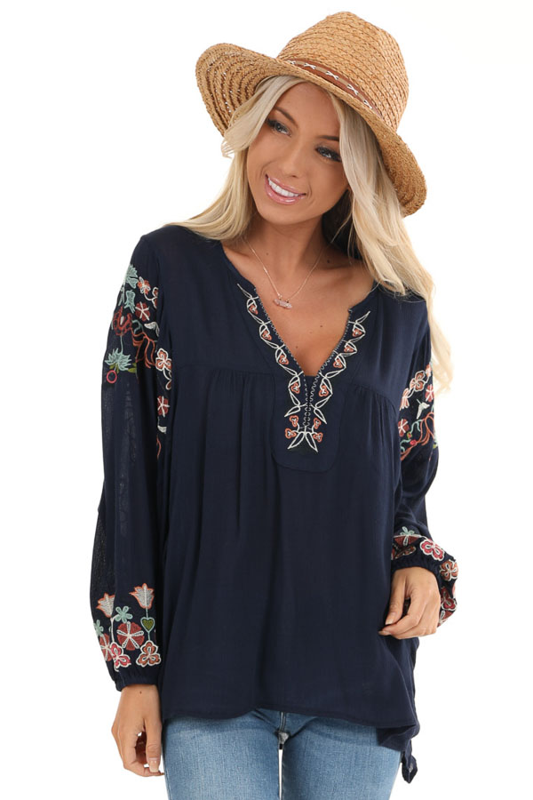 Navy Long Sleeve Peasant Top with Embroidery Details front close up