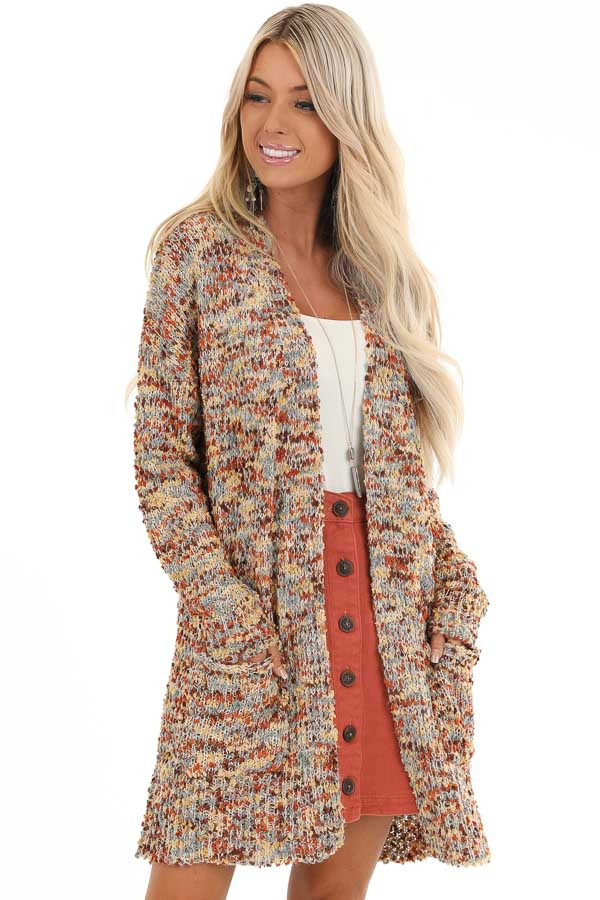 Cinnamon Multi Print Knit Cardigan with Pockets front close up