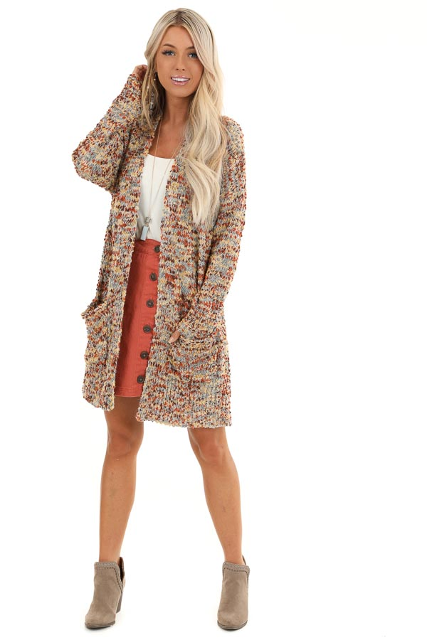 Cinnamon Multi Print Knit Cardigan with Pockets front full body