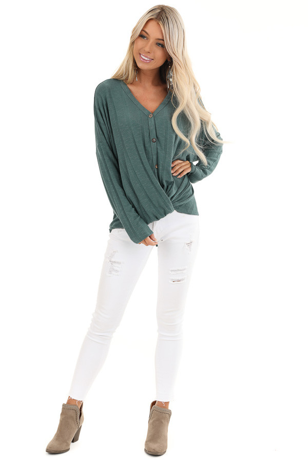 Dark Teal Button Down V Neck Top with Front Twist Details front full body