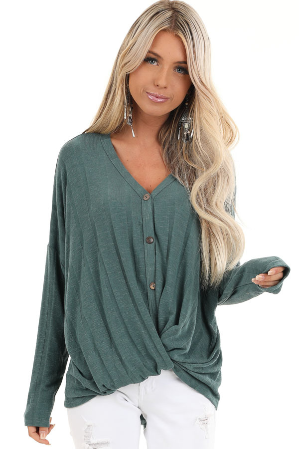 Dark Teal Button Down V Neck Top with Front Twist Details front close up