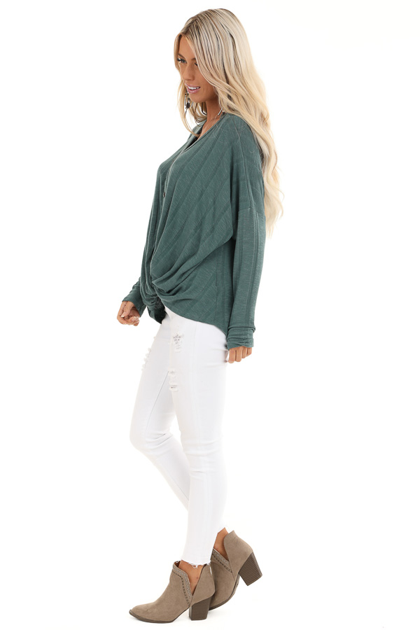 Dark Teal Button Down V Neck Top with Front Twist Details side full body