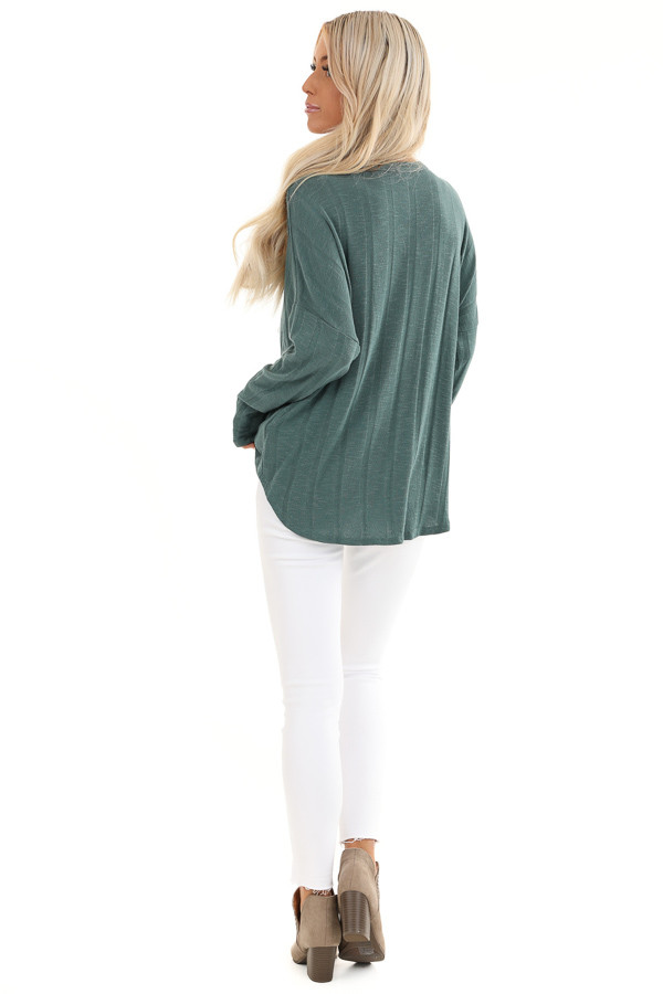 Dark Teal Button Down V Neck Top with Front Twist Details back full body