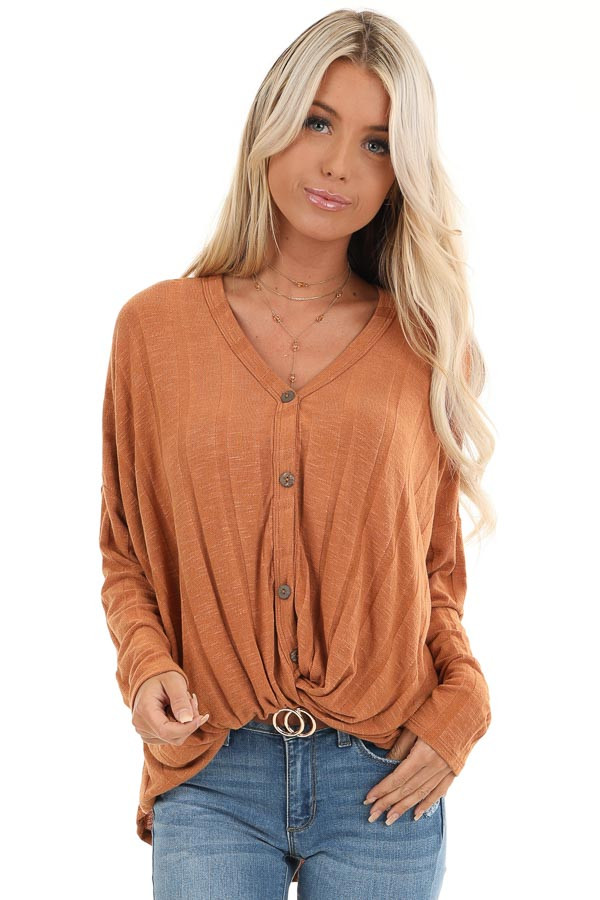 Ginger Button Down V Neck Top with Front Twist Detail front close up