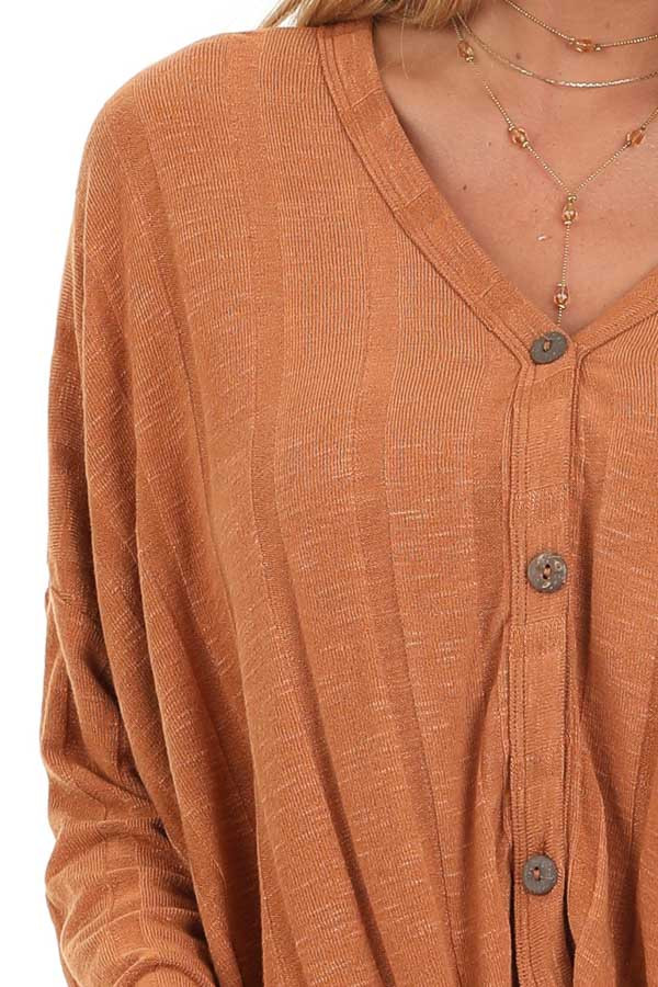 Ginger Button Down V Neck Top with Front Twist Detail detail
