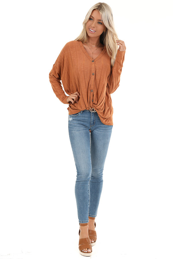 Ginger Button Down V Neck Top with Front Twist Detail front full body