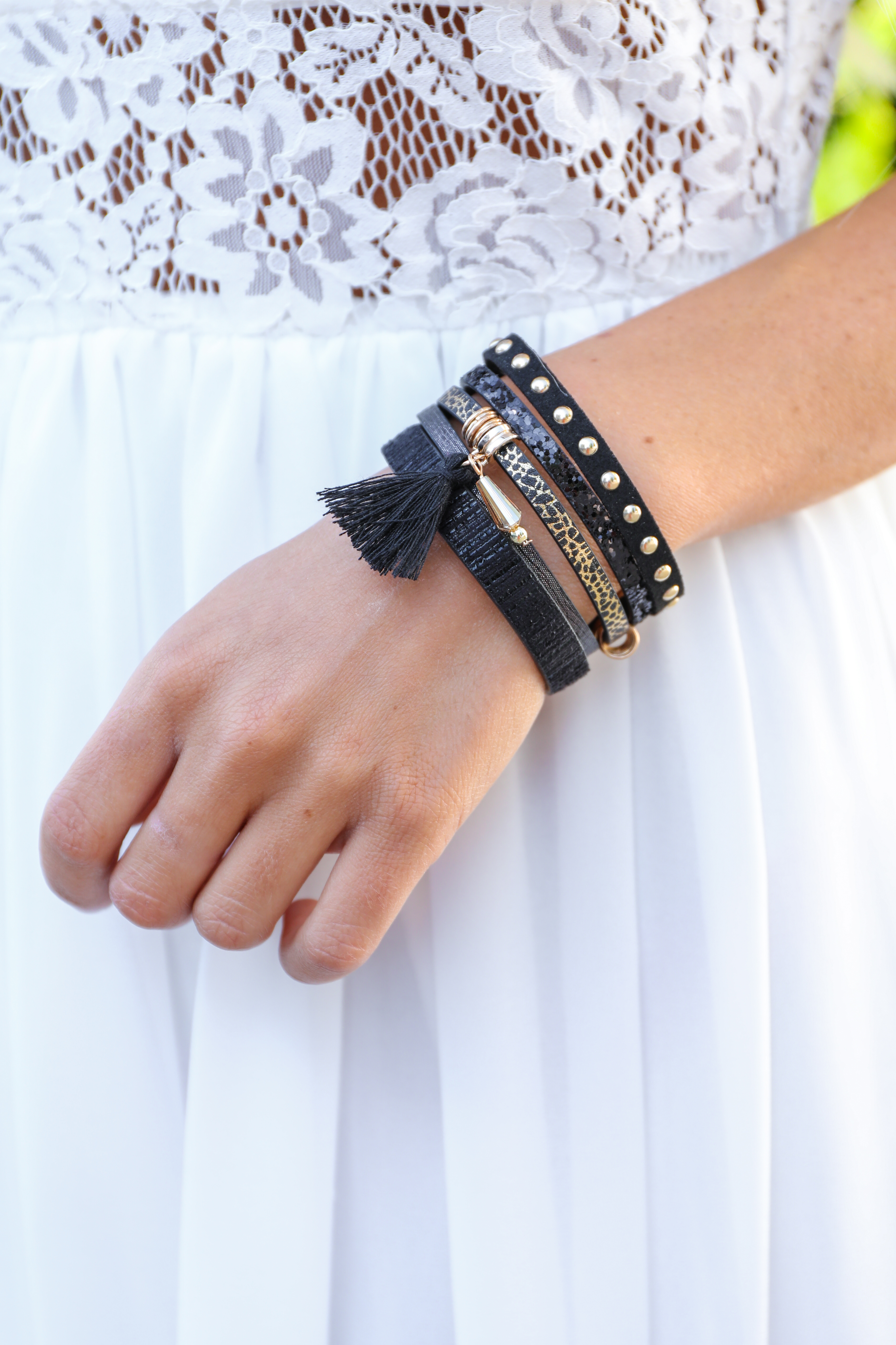 Black and Gold Faux Leather Bracelet with Magnetic Clasp