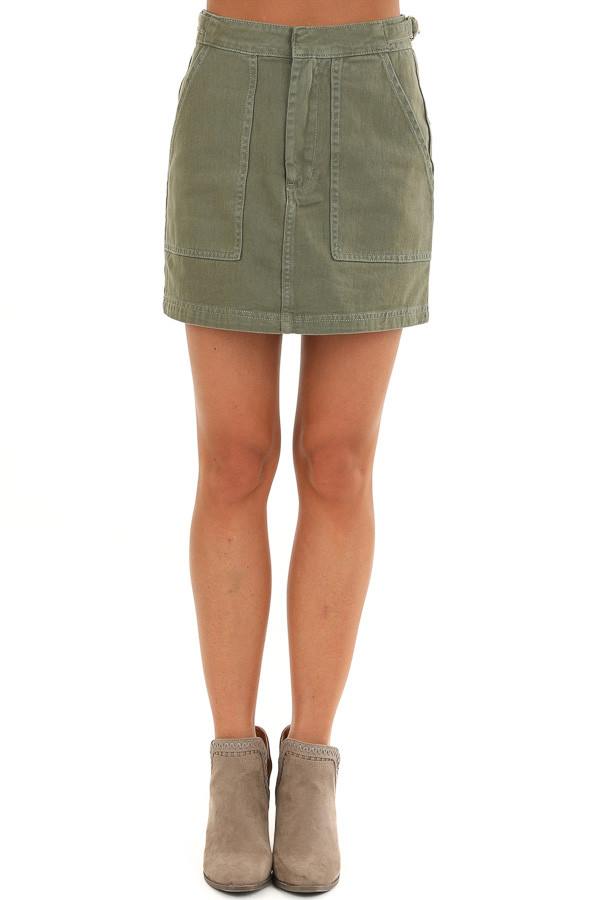 Olive Denim Mini Skirt with Pockets and Adjustable Straps front view