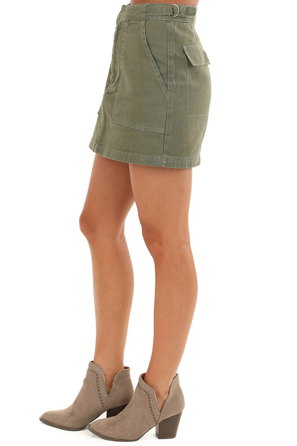 Olive Denim Mini Skirt with Pockets and Adjustable Straps side view