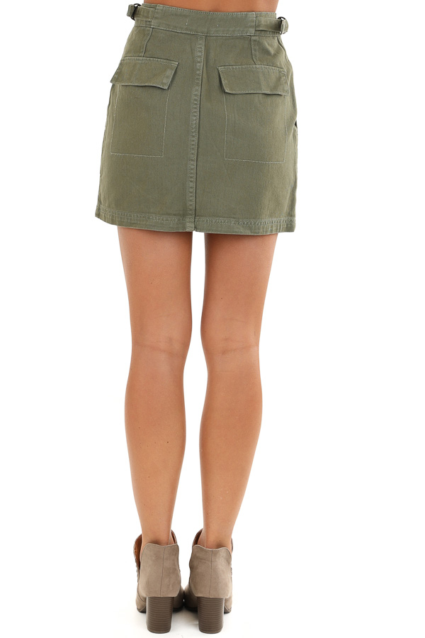 Olive Denim Mini Skirt with Pockets and Adjustable Straps back view